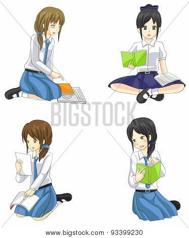 Cute Cartoon Asian Thai Schoolgirl Students In Governent, Convert, And International High School Uni