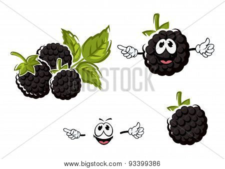 Ripe cartoon blackberries fruits characters