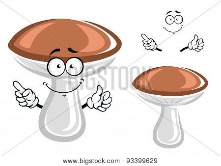 Funny forest mushroom cartoon character