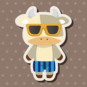 stock photo of sea cow  - Animal Cow Summer Cartoon Theme Elements - JPG