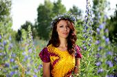 stock photo of polite girl  - Beautiful girl from Poland with wreath made of flowers - JPG
