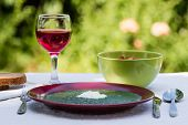 image of marsala  - spinach in marsala color plate with tomatoes brown bread and wine - JPG