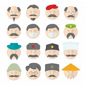 stock photo of hairline  - Flat vector illustration icons set with many cartoon persons with different equipment - JPG
