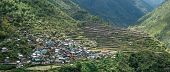 stock photo of luzon  - Panoramic Scenic of Bayyo Rice Terraces and Mountainside Village on Island of Luzon in Philippines  - JPG
