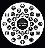 pic of ppe  - Black and white construction manufacturing and engineering health and safety related circular icon collection isolated on white background with work safe message - JPG
