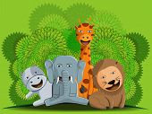 foto of jungle animal  - illustration design of cute jungle animal group lion elephant and giraffe vector - JPG
