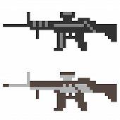 stock photo of assault-rifle  - illustration vector isolate icon pixel art gun assault rifle - JPG
