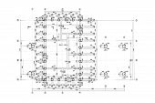 stock photo of blueprints  - floor plan blueprints engineering and architecture drawings - JPG