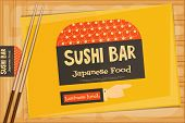 pic of sushi  - Sushi Poster on Wooden Background - JPG