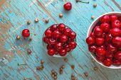 pic of cherries  - Sweet Cherry in Bowl on Rustic Table Ripe Fresh Wild Cherries Fruit - JPG