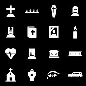 pic of funeral  - Vector white funeral icon set on black background - JPG