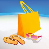 foto of thong  - The illustration of beautiful realistic beach bag with orange thongs and googles on a seashore - JPG