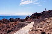 pic of faro  - Lighthouse Faro de Punta de Teno on shore of the Atlantic Ocean on the island Tenerife - JPG