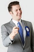picture of politician  - Studio Portrait Of Untrustworthy Politician Winking At Camera  - JPG