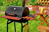 foto of lunch  - Outdoor Summer Weekend BBQ Grill Party Or Family Lunch Or Cookot Food Or Picnic Concept - JPG
