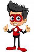image of superhero  - A cartoon illustration of a Superhero Boy character dressed in a red superhero costume - JPG