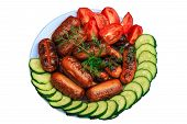 foto of grilled sausage  - sliced cucumbers - JPG