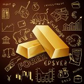 foto of gold nugget  - two gold nuggets and exchange doodle icon - JPG