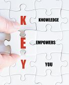 stock photo of empower  - Hand of a business man completing the puzzle with the last missing piece - JPG