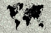 picture of barter  - The money and world map for decorate - JPG