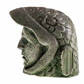 stock photo of aztec  - Aztec carved eagle warrior head reproduction isolated over a white background - JPG