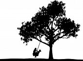 foto of tire swing  - silhouette of two kid playing on a tire swing - JPG