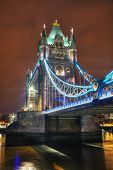 stock photo of london night  - Tower bridge in London Great Britain at the night time - JPG