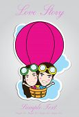 picture of kiddie  - Cartoon kids riding a hot air balloon - JPG