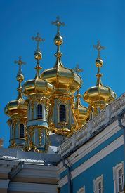 stock photo of ascension  - Church of Ascension is a part of Ekaterina the Second palace in Tsarskoe Selo - JPG