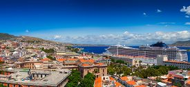 foto of messina  - Panoramic view of Messina town with docked large luxury cruise ship - JPG