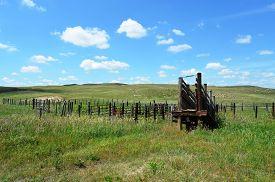 stock photo of western nebraska  - Livestock Loading Chute Ramp on a rural ranch in the prairie grasslands of Nebraska - JPG