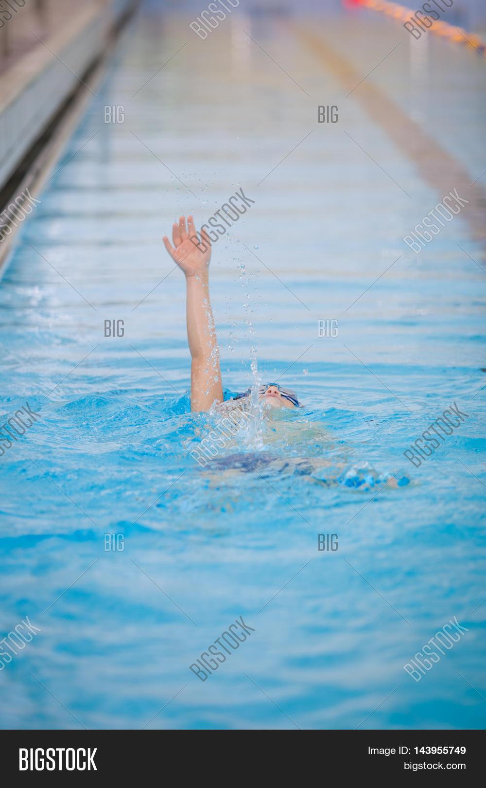 Small Kid Boy Swims Swimming Pool Image Photo Bigstock