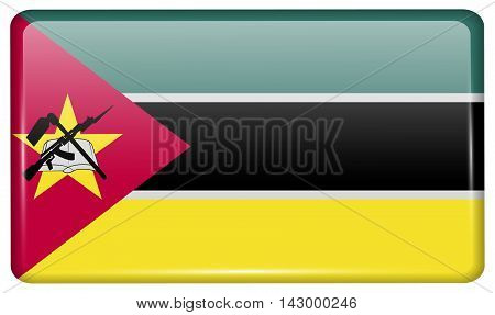 Flags Mozambique In The Form Of A Magnet On Refrigerator With Reflections Light. Vector