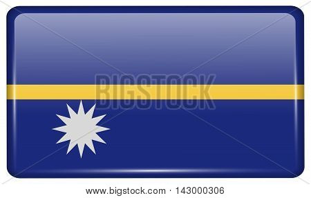 Flags Nauru In The Form Of A Magnet On Refrigerator With Reflections Light. Vector