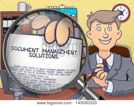 Document Management Solutions. Concept on Paper in Man's Hand through Magnifier. Colored Doodle Illustration.
