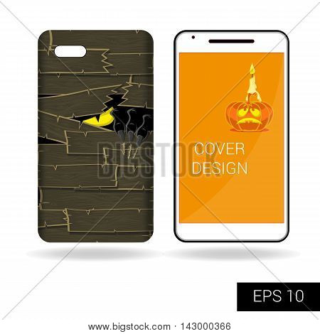 Concept Design Cover Mobile Smartphone With Black Scary Monster Staring From Behind The Old Wooden W
