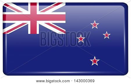 Flags New Zeland In The Form Of A Magnet On Refrigerator With Reflections Light. Vector