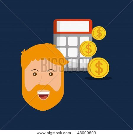 man coins calculator online payment shopping ecommerce icon. Flat illustration. Vector graphic