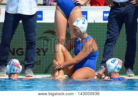 Budapest, Hungary - Jul 16, 2014. Italy's RADICCHI Federica (ITA, 2) taking a rest in the break. The Waterpolo European Championship was held in Alfred Hajos Swimming Centre in 2014.