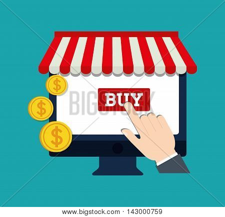 computer coins hand online payment shopping ecommerce icon. Flat illustration. Vector graphic