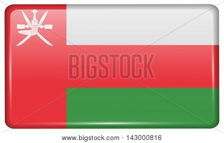 Flags Oman In The Form Of A Magnet On Refrigerator With Reflections Light. Vector