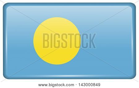 Flags Palau In The Form Of A Magnet On Refrigerator With Reflections Light. Vector