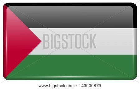Flags Palestine In The Form Of A Magnet On Refrigerator With Reflections Light. Vector