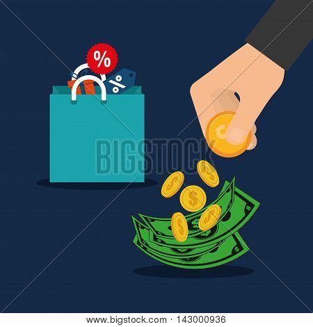 bag coins bills hand online payment shopping ecommerce icon. Flat illustration. Vector graphic