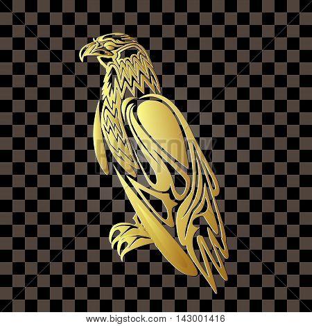 Golden eagle on a transparent background. vector illustration