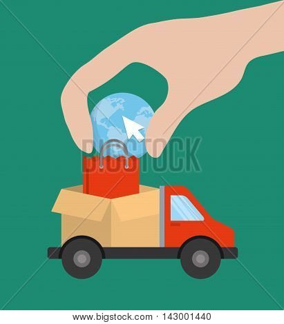 truck box bag planet cursor hand online payment shopping ecommerce icon. Flat illustration. Vector graphic