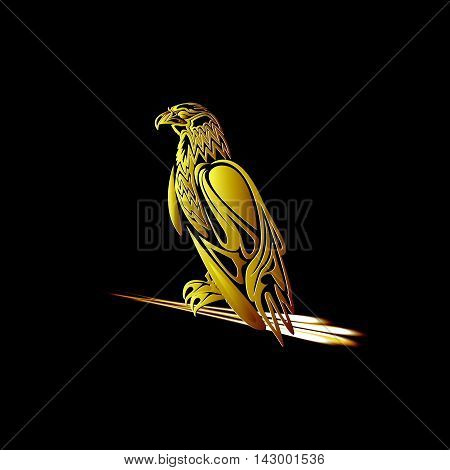 Golden eagle with arrows in its talons on a dark background
