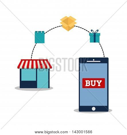 shopping bag box gift smartphone store online payment ecommerce icon. Flat illustration. Vector graphic