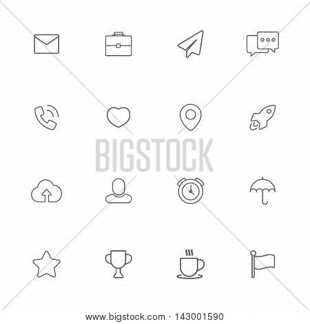 Web miscellanea gray line icons set of 16