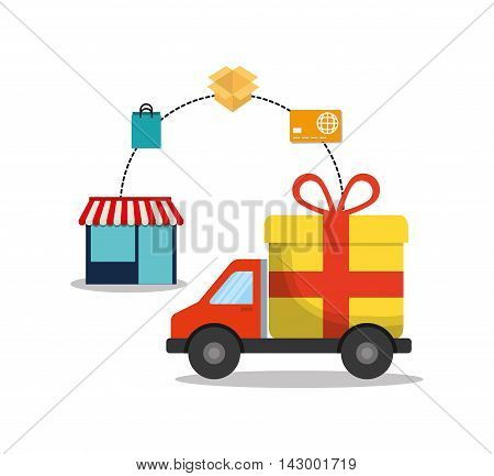 shopping bag box credit card store gift truck online payment ecommerce icon. Flat illustration. Vector graphic